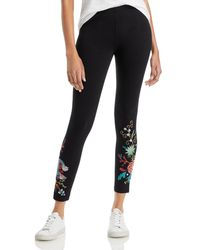 Johnny Was Arial Embroidered Cropped Leggings - Black