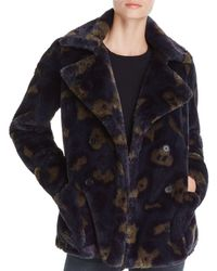 Zadig & Voltaire Miles Leo Faux-fur Camouflage Coat - Blue