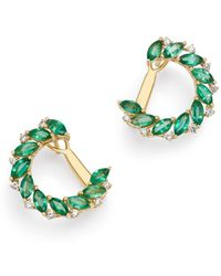 Bloomingdale's - Emerald Marquis & Diamond Front-to-back Earrings In 18k Yellow Gold - Lyst