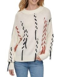 DKNY Thread Threw Cable Knit Jumper - White