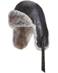 Crown Cap - Leather Sheared Rabbit Aviator Hat - Lyst