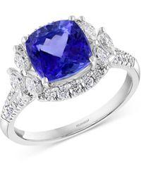 Bloomingdale's Tanzanite & Diamond Halo Ring In 14k White Gold
