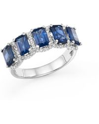 Bloomingdale's Blue Sapphire And Diamond Statement Ring In 14k White Gold - Multicolor