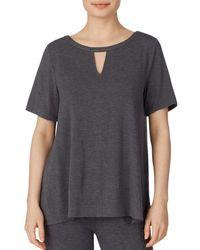 Donna Karan Sleepwear Short Sleeve Tee - Grey
