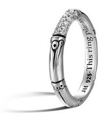 John Hardy - Bamboo Sterling Silver And Diamond Pavé Slim Ring - Lyst