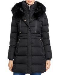 T Tahari Stephanie Faux Fur Trim Puffer Coat - Black