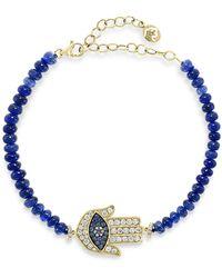 Bloomingdale's Sapphire & Diamond Hamsa Hand Bracelet In 14k Yellow Gold - Blue
