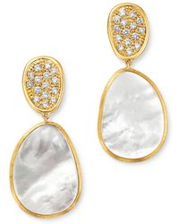 Marco Bicego - 18k Yellow Gold Lunaria Pavé Diamond & Mother Of Pearl Small Drop Earrings - Lyst