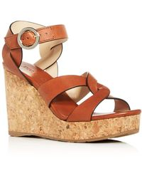 Jimmy Choo Dulce 90 Suede Espadrille Wedges - Brown