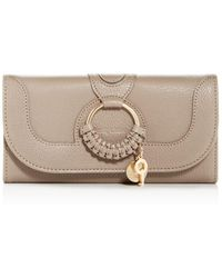 See By Chloé Hana Long Wallet With Flap In Motty Grey Grained Goatskin - Gray