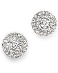 Bloomingdale's - Diamond Halo Stud Earrings In 14k White Gold, 0.75 Ct. T.w. - Lyst