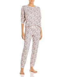 Aqua Leopard Print Pyjama - Pink