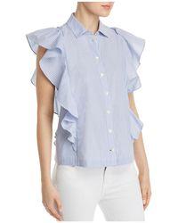 Kate Spade - Ruffle-trim Striped Shirt - Lyst