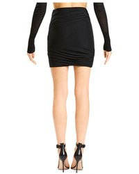 Hervé Léger X Julia Restoin Roitfeld Mesh Overlay Ruched Mini Skirt - Black