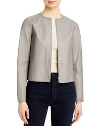 Lafayette 148 New York Griffith Cropped Leather Jacket - Grey