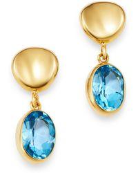 Bloomingdale's Blue Topaz Oval Drop Earrings In 14k Yellow Gold