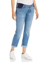 7 For All Mankind Josefina Boyfriend Maternity Jeans In Broken Twill Vanity - Blue