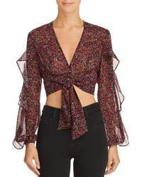 The Fifth Label - Elective Tie-front Floral Cropped Top - Lyst