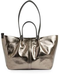 AllSaints Allington Small Metallic Leather Tote