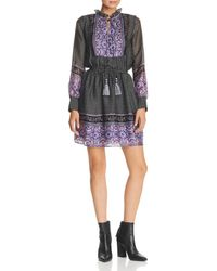 Aqua - Long-sleeve Border-print Dress - Lyst