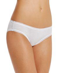 Fine Lines Pure Cotton Bikini - White