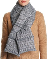 Aqua Plaid Puffer Scarf - Blue