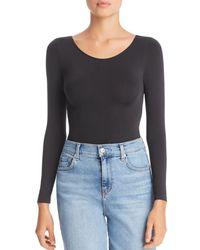 DKNY Opaque Long Sleeve Bodysuit - Black