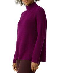 Eileen Fisher - Ribbed Merino Wool Turtleneck Sweater - Lyst