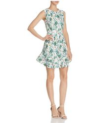 Aqua - Botanical Flounce-hem Dress - Lyst