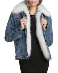 Avec Les Filles - Faux Fur Trim Denim Jacket - Lyst