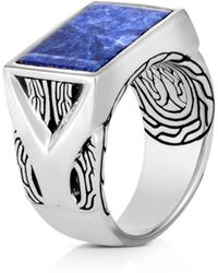 John Hardy Sterling Silver Classic Chain Sodalite Signet Ring - Metallic