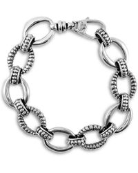 Lagos - Silver Small Caviar & Fluted Link Bracelet, 15mm - Lyst