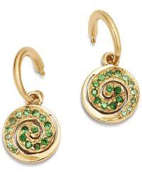 Shebee - 14k Yellow Gold Blue Sapphire Spiral Charm Drop Earrings - Lyst
