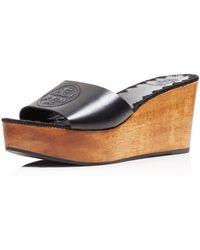 Tory Burch - Women's Patty Leather Platform Wedge Slide Sandals - Lyst
