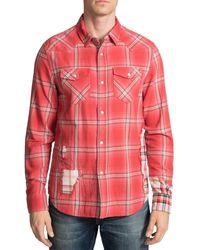 PRPS Men's Patched Plaid Sport Shirt - Red