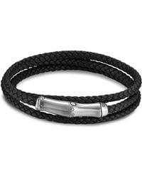 John Hardy Sterling Silver Bamboo Black Leather Triple Wrap Bracelet