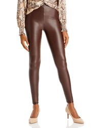 Aqua Faux Leather Leggings - Brown
