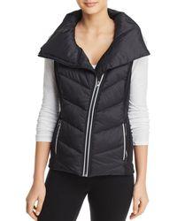 Aqua Athletic Asymmetric Puffer Vest - Black