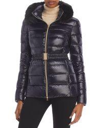 Herno Claudia Faux Fur Collar Down Coat - Black