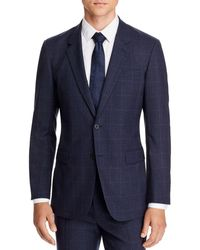 Theory Chambers Tonal Plaid Slim Fit Suit Jacket - Blue