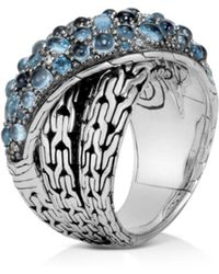 John Hardy - Sterling Silver Classic Chain Crossover Ring With Blue Topaz & Blue Zircon - Lyst