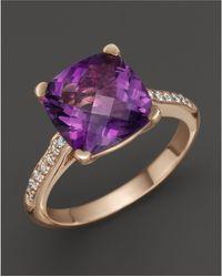 Lisa Nik - 18k Rose Gold Amethyst And Diamond Ring - Lyst