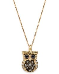 """Bloomingdale's - White And Brown Diamond Owl Pendant Necklace In 14k Yellow Gold, 16"""" - Lyst"""
