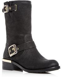 Vince Camuto - Women's Windy Nubuck Leather Block Heel Moto Boots - Lyst