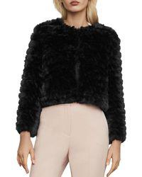 BCBGMAXAZRIA Sophiana Faux Fur Cropped Jacket - Black