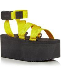 Moschino Logo Tape Strap Platform Sandals - Yellow