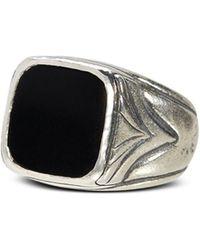 John Varvatos Sterling Silver Square Onyx Ring - Metallic