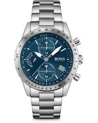 BOSS by Hugo Boss - Chronograph Pilot Stainless Steel Bracelet Watch 44mm - Lyst