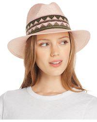 Aqua Geometric - Trim Panama Hat