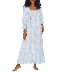 Eileen West Printed Long Nightgown - Blue